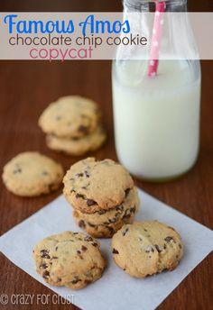 Famous Amos Copycat Chocolate Chip Cookies   crazyforcrust.com   #cookie #chocolate #copycat