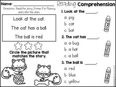 FREE Reading Comprehension For Beginning Readers (Multiple Choice)