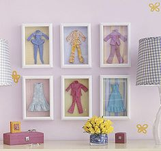 DIY wall art for a little girls room using Barbie doll clothes