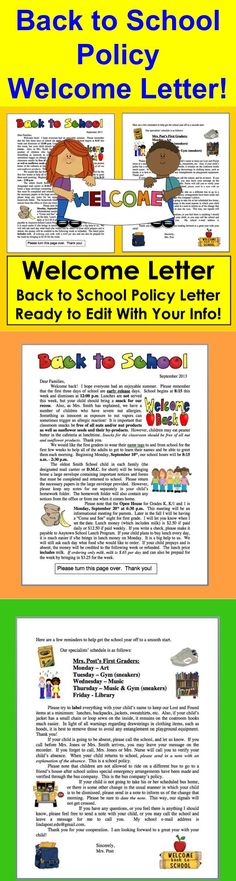 welcome back to school letter education world welcome letter template school room 27156