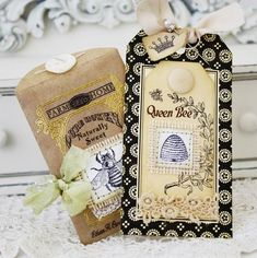 okay...this is sending me over the top!! Love black and white with gold! Love Bees! Love Natural envelopes! Love crowns!  OMGoodness!