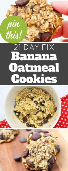 These banana oatmeal cookies are a healthier dessert. No flour, just bananas, oats, and some spices. You can add chocolate chips if you'd like! 21 Day Fix Friendly.
