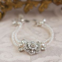 """Dainty Pearl Bridal Bracelet / Wedding Jewelry / Silver Crocheted Lace  / Vintage Crystals """"Gloriana"""""""
