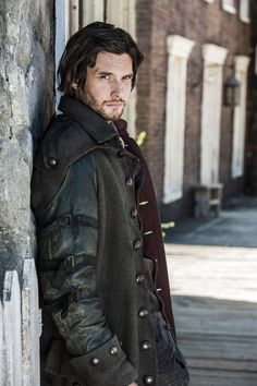Damn, that coat is amazing! Just kidding, Ben Barnes looks so fine in Sons of Liberty. But the coat is nice, too.