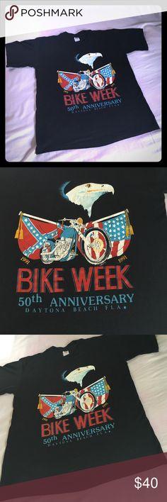 ⚡️👁Harley/Daytona Beach 1991 Bike Week ⚡️👁 This one speaks for itself . Tag reads large . Daytona Bike Week 1991 . Vintage Beauty . Back is depicted in 4th picture . Clean & bad ass . Vintage Tops Tees - Short Sleeve
