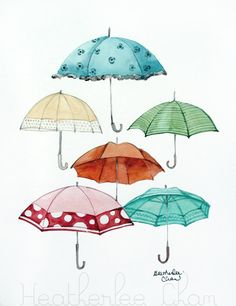 Umbrella Collection Original Watercolor Painting 9 by ladypoppins, $30.00