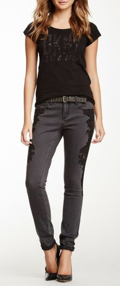 DKNY Jeans Lace Embroidery Ave B Ultra Skinny Jean
