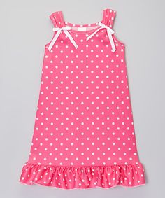 Another great find on #zulily! Hot Pink & White Dot Nightgown - Toddler & Girls #zulilyfinds