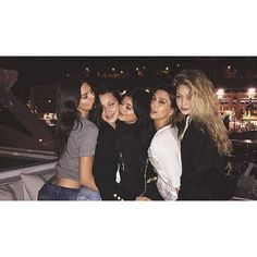 Kendall and Kylie Jenner join Gigi and Bella Hadid for an ultra-glam... ❤ liked on Polyvore featuring friend, gigi hadid, kendall, kylie and kylie jenner