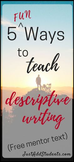 Need some fresh activities for teaching descriptive writing in middle school?  This post has 5 lessons you can use to do just that!  Five ready-to-use lessons plus a free mentor text analysis worksheet your students can use right away.  #descriptivewriting #graphicorganizers