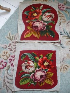 Victorian Berlin wool work embroidered chair covers, woolwork needlepoint