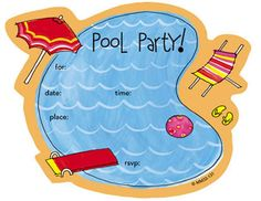 Pool Party Invitations, Pool Party Die-cut Fill-in, 7512