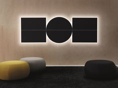 Modern acoustic panels from Arper Parentesit with ambient lighting and speakers Akustik by thomortiz Wall Panel Design, Panel Wall Art, Acoustic Wall Panels, Modular Walls, Interior Decorating, Interior Design, Design Interiors, Luz Led, Office Interiors