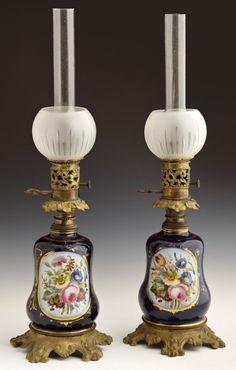 vintagehandsomemen:  Parisian bronze and porcelain carcel lamps, 19th century.