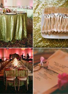 reception linens, glitter wedding, green glitter
