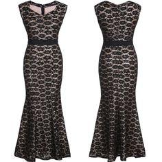 Womens Ladys Long Lace Party Dresses Wedding Bridesmaid Slim Maxi Dress Black M #Unbranded #StretchBodycon #Cocktail