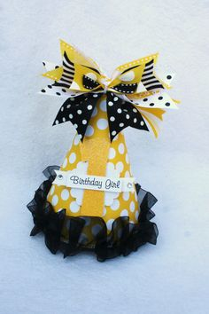 Honey Bee Birthday Party Hat in yellow black by LittlePinkTractor, $13.50