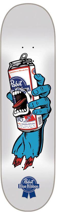 Santa Cruz Skateboard Deck Screaming PBR Pabst Beer Hand 8 0   eBay