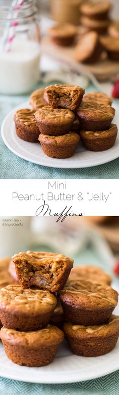 These mini peanut butter muffins are grain free, 5 ingredients and are made in one bowl. They're the perfect quick, easy, on the go breakfast or snack!