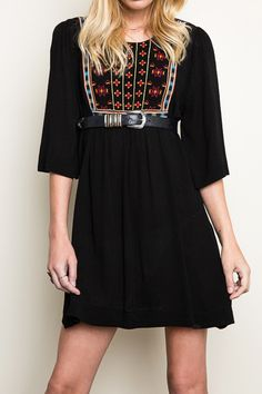 Lovely Women's Embroidered Tunic Dress - Loluxe - 1