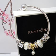New Authentic Pandora Bangle Bracelet Silver Gold White 10pc Charm Bead w Box | eBay $120