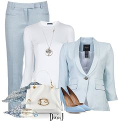 """Blue and White"" by dimij on Polyvore"