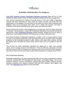 RevBuilders Marketing Hires Two Employees by myrevsource via slideshare