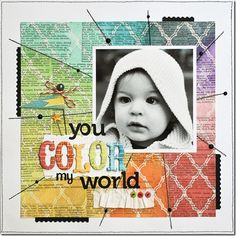 Cute idea for card.  Rainbow scrapbook page layout using Mistables paper by Pink Paislee