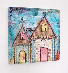 PRINT++Cottages++mixed+media+wall+art+by+SunshineOnCanvas+on+Etsy,+$17.00