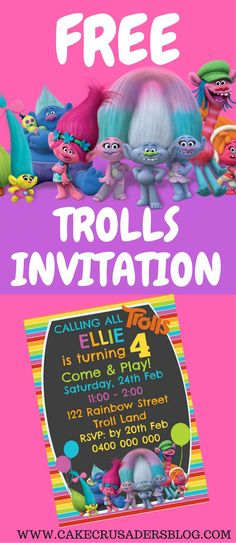 DIY free Trolls invitation. Great party printable templates that can be homemade