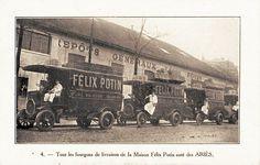 """Vers 1915, plus toujours d'attelages à chevaux, mais """"tous les fourgons de livraison de la Maison Félix Potin sont des Ariès""""!"""