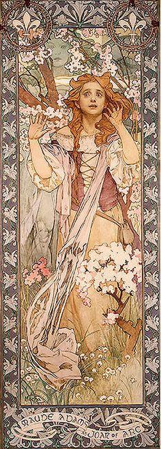 1909 Maud Adams as Joan of Arc. Alphonse Mucha