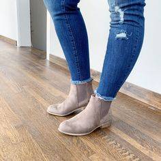 GORGEOUS Taupe Chelsea booties with stacked heel, and deep side goring for a just-right fit. Perfect style to go with all of your fall outfits! Espadrille Sandals, Espadrilles, Sandals For Sale, Winter Wear, Chelsea Boots, Fall Outfits, Taupe, Shop Now, Footwear
