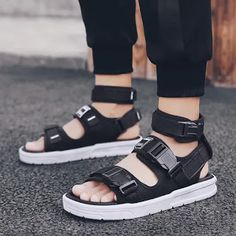 PAMRAY Strap Sandals Men Sports Open-Toe Platform Shoes Faux Leather Slippers