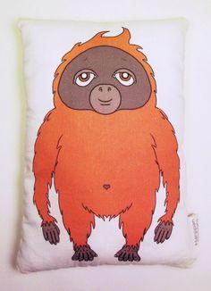 Orangutan Cushion Orangutan Pillow Monkey Toy Softie Illustration Printed Stuffed Toy Nursery Decor Monkey Plush by HanjipanDesigns on Etsy https://www.etsy.com/listing/208016838/orangutan-cushion-orangutan-pillow