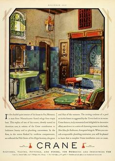 1928 Ad Crane Interior Design Bathroom Home Decoration Fixtures Piping Lavatory | eBay - You like the Moroccan look? Here you go.