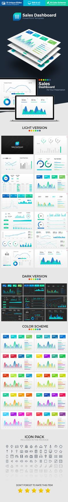 Overview: Flat, Clean, Minimalist, Elegant and Flexible PowerPoint Presentation Template, perfect for presentation sport, corporate and personal use. Sales Dashboard PowerPoint Presentation Template is PowerPoint Template that containing Dashboard Infographic elements and chart, can be used to explaining your business data chart in presentation. Very easy to change the color schemes.