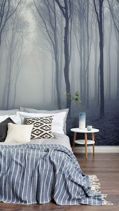 home wallpaper Snooze away in this dreamy forest setting. Soothing tones of grey come into play in this mesmerising forest wallpaper, creating a totally serene environment for your bedroom spaces. Forest Wallpaper, Wallpaper Decor, Home Wallpaper, Wallpaper Ideas, Bathroom Wallpaper, Grey Wallpaper Uk, Nature Wallpaper, Emoji Wallpaper, Striped Wallpaper