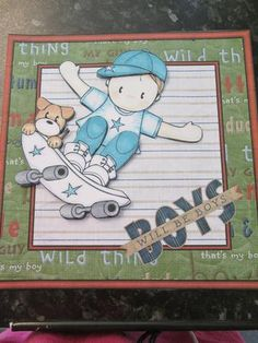 Andy on his skateboard 7x7 card front with decoupage on Craftsuprint designed by Amanda McGee - made by Anne-marie wheeler - Printed onto good quality card cut all the pieces out and layered with foam pads added to a card blank this card doesnt need anything a fab card for any little boy. - Now available for download!