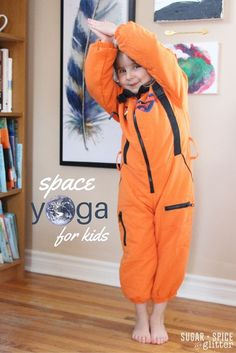 Yoga Poses : A cute idea for physical activity during a space unit study – or just to get your little astronaut moving – this space yoga for kids sequence takes kids on an imaginary trip through space Outer Space Activities, Space Theme Preschool, Gross Motor Activities, Physical Activities, Preschool Prep, Dementia Activities, Indoor Activities, Kid Activities, Preschool Ideas