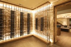 The limestone-clad wine cellar in this Atherton, Calif. home fits about 3,000 bottles.
