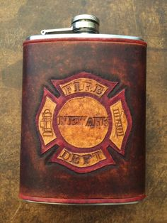 """Firefighter flask-Give to Josh day of our wedding with a note """"Liquid Courage for our wedding day"""""""