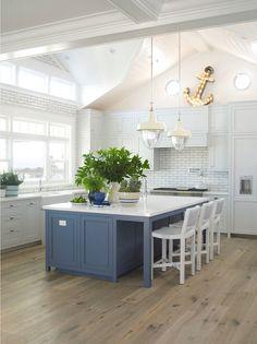 Flooring is DuChateau Floors. Kitchen Paint Color. Kitchen Cabinet Paint Color. Kitchen Island Paint Color. The kitchen island is painted Symphony Blue by Pratt & Lambert. #Kitchen #KitchenPaintColor