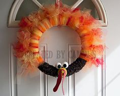 Turkey Wreath Thanksgiving Decoration by Cammi.  My daughter Cammi is selling these wreath's to try to earn money for her All Stars Soccer Team expenses.  If you're interested in ordering please visit my Etsy shop. $25.00