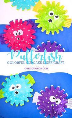 Puffed Up Colorful Cupcake Liner Pufferfish Craft #summer #ocean #underthesea #cupcakelinercraft #kidcrafts #kids #pufferfish #oceancraftsforkids