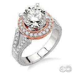 Round Brilliant Diamond Engagements Ring with Rose Gold Halo and Split Shank, in White Gold