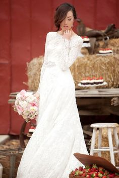 """Monique L'Huiller - From Aisle Perfect's """"20 Pretty Perfect Long Sleeve Wedding Gowns."""""""