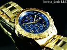 Invicta Men's Specialty Chronograph Blue Dial Gold Plated SS Tacy Watch for sale online Cool Watches, Rolex Watches, Argent Sterling, Chronograph, 18k Gold, Bracelet Watch, Plating, Blue