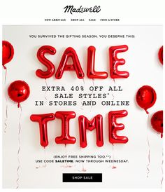 Extra off sale styles at the Madewell After-Christmas Sale. Email Marketing Design, E-mail Marketing, Digital Marketing, E-mail Design, Flat Design, Design Ideas, Graphic Design, Email Layout, Email Newsletter Design