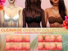 sims 4 cc // custom content skin details // Cleavage overlays in 20 versions 2 transparency options each. Works with EA skins and custom overlays under tattoo category. Found in TSR Category 'Sims 4 Female Skin Details' Los Sims 4 Mods, Sims 4 Body Mods, Sims 4 Game Mods, Sims 4 Cc Packs, Sims 4 Mm Cc, Sims 4 Mods Clothes, Sims 4 Clothing, Maxis, Sims 4 Tattoos
